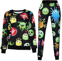 Cheap 3D tracksuits print cartoon emoji jogging suits sweat shirts+pants 2 piece set for men women sportwear new