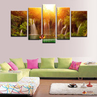 art piece gallery - 5 piece decorative painting Modern Canvas Art Gallery waterfall and forest view painting on canvas wall pictures for living room