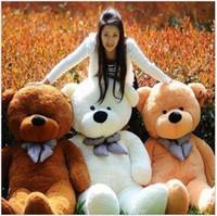 al por mayor juguetes de peluche-Venta caliente el 80 de algodón ligero gigante marrón 80cm lindo de la felpa del oso de peluche de juguete suave enorme