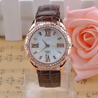 Wholesale Watches Women Fashion Luxury Watch Alligator Leather Rome Dial Quartz Watch Crystal Inlaid Rose Gold Casual Watch Y55 MHM570 M5