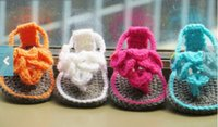 Cheap Heart-shaped wool crochet toddler sandals. Newborns. Flip flops. Baby casual sandals. Cheap Baby Shoes outlets baby wear 12pair 24pcs