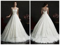 Cheap White Tulle A Line Wedding Dresses 2015 Sheer Scoop Neckline Cap Sleeves Lace Appliques Beading Court Train Luiza Bridal Gowns Amelia Sposa