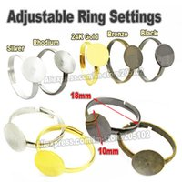 Wholesale mm Metal Adjustable Finger ring Settings Gold Rhodium SIlver Bronze for DIY Jewelry Findings Parts Accessories