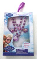 Wholesale NEW Frozen Jewelry Sets Children s necklace bracelet Rings jewelry Best Christmas gift for Girls sets