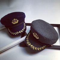 beret badges - Vintage Style Woolen Flat Navy Hat For Men Women Badge Crown Embroidery Fashion Winter Beret Fedoras Peaked Octagonal Cap