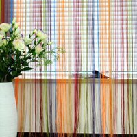 Cheap New Window Door Wall Panel Divider Strip Tassel Colorful Line String Curtain