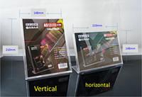 A5 210 * 148mm Acrylique porte-signe d'affaires Horizontal / Vertical Carte en forme de L Carte de Dispaly Board Tag Display Annonce Affiche pour Bar