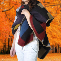 Wholesale Autumn and Winter Wool Cashmere Blanket Style Cape Shawl Sweater Women Fashion Contrast Color Wool blend Poncho cloak soft shawl
