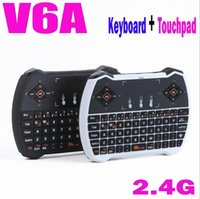 Wholesale Mini Ghz Rii R6 Wireless Game USB Keyboard Gyroscope Fly Air Mouse Remote Control with Touchpad for Andriod TV Box M8 MXIII CS918 DHL