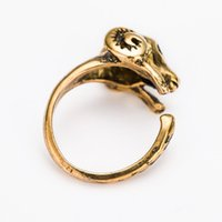 Wholesale European and American trade jewelry manufacturers custom adjustable alloy animal ring ancient gold sheep