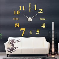 Wholesale relogio de parede DIY Large Watch Wall Clock Modern Design Creative Stickers Mirror Effect Acrylic Glass Decal Home Decoration order lt no t