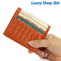 banking license - High Quality Luxury Knitted Sheep skin Genuine Leather Card Holder Credit Bank Card ID Driving License Card Holder wallet
