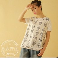 japanese fashion clothing - Korean Fashion Clothing T shirts O neck Shorts Sleeve Pritning Animal Japanese Mori Girl Cartoon Sweet Casual Summer Women