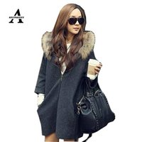 Wholesale Womens Capes And Ponchoes New Autumn Winter Loose Wool Coat Women Zipper Hooded Fur Poncho Manteau Femme Cloak