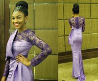 ukraine - Miss Africa Ukraine Lovely Lavender Lace Prom Pageant Dresses with Long Sleeve Mermaid Crew Beaded Evening Formal Party Gowns