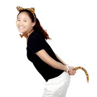Wholesale Funny Dress Up Party Accessory Set Halloween Leopard Print Plush Fluffy Cat Ear Headband Bow Tie Tail Animal Costume Props