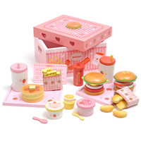 Wholesale Mother gardern girl s playhouse wooden toy hamburger french fries ice cream toys set