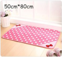 Wholesale Retail pc Cartoon Door Mat Wave Point Bowknot Hello Kitty Baby Carpet Bedroom Carpets Floor Mats cm Pink