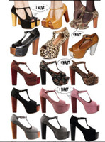 Wholesale New Women High Heel Wedge Clog Platform Sandals Peep toes Shoes Fashion Women High Heel Sandals