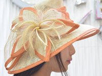 sinamay hat - Women s Ladies Wedding Hat Wide Brim Derby Gauze Hat with feather flower100 sinamay material church hat