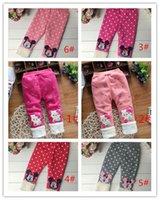 Cheap 2015 factory outlet children Girls winter velvet Leggings thickened baby kitten dot design Trousers Children's clothing A020419