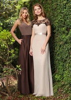 beige bridesmaid dresses - Beige Bridesmaid Dresses With Satin Sash Black Lace Sheer Crew Neck Fomal Prom Party Dress Short Sleeves Mother Wedding Party Dress