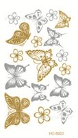 Wholesale New Metallic Gold Silver Body Art Temporary Tattoo Sexy Non Toxic Flash Tattoos Sticker For Women Body Art HC