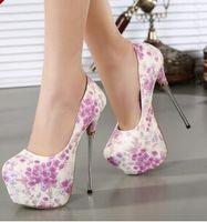 arrival pumps platform - New arrival hot sale fashion banquet summer sweety princess super lovely girl embroidered flowers platform heels shoes EU35