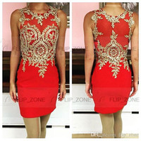 Wholesale Real Photos Tarik Ediz Mini Homecoming Dresses Sheer Neck Gold Lace Sexy Short Party Prom Cocktail Sweet Sixteen Graduation Gowns Cheap