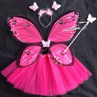 beautiful set wings - Beautiful Fantasy Fairy Angel Butterfly Wings tutu skirt Child Girls Christmas Halloween Party Cosplay Costumes piece Set