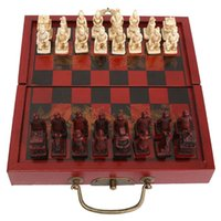 Wholesale Unique Technology Chinese Chess Set Terracota Warrior Chess Game Checkers Wooden Boxes Pieces