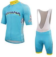 astana sleeves - 2015 ASTANA PRO TEAM BLUE Short Sleeve Cycling Jersey Bike Bicycle Wear BIB Shorts Size XS XL