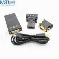 Wholesale 2 USB UGA to DVI VGA HDMI Multi Display Dual Monitor Converter Graphic Adapter