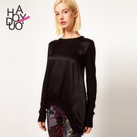 Cheap Before the long and short skirt knitted Black Satin Stitching - women's long sleeved jumper haoduoyi