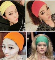 Wholesale Colored Wide Yoga Headband New Fashion inch Women Stretch Hairband Elastic Hair Bands