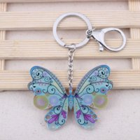 Wholesale Cute Butterfly Keychain - 2pcs lot lovely butterfly new 2014 acrylic key chains for girls fashion cute animal woman man gift beautiful keychain