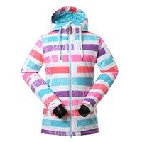 Wholesale Gsou Snow Ladies Waterproof Ski Jacket Womens Stripe Ski Coats Snowboard Jacket Winter Coat Windproof degree