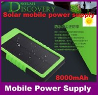 Wholesale 8000mAh Solar power Charger and Battery Solar Panel waterproof shockproof Dustproof portable power bank for Mobile Cellphone Laptop ups
