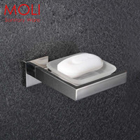 Wholesale Stainless steel bathroom soap dish square polished soap holder in the bathroom