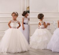baby girl bodice - 2016 Cute Lace Appliques Bodice Tulle Skirt Floor Length Flower Girls Dresses Crew Neck Cap Sleeves Sash Baby Girl Birthday Party Gowns