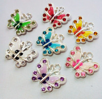 enamel charms - 50pcs Mixed Silver Plated Enamel Crystal Butterfly Charms Pendants Jewelry DIY Jewelry Findings Floating Charm styles