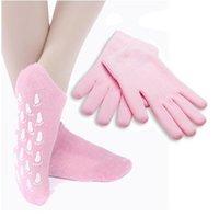 Wholesale Chinese Pink Gel Spa Socks Moisturize Soften Repair Cracked Skin Treatment Spa Socks Box Package