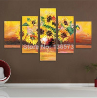 Cheap Hand Painted 5 panel Abstract Canvas Sunflowers Oil Painting Modern Wall Art Vase Flower Picture Sets Home Decoration No Framed