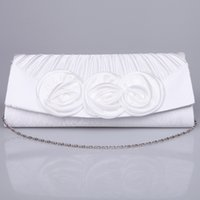bag hand make - 2015 Cheap White and Red Bridal Hand Bags Hand Made Flowers Portable Wedding Evening Favors with Sliver Chain