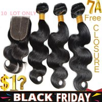 Wholesale Black Friday Crazy Free Lace Closure Human Hair Extensions A Virgin Brazilian Peruvian Indian Malaysian Hair Weave Accept Returns