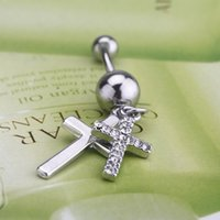 Wholesale New Arrival L Surgical Steel Double Cross Rhinestone Dangle Belly Button Navel Ring Bar Piercing Jewelry Gift