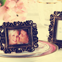 gold picture frame - wedding favor vintage gold place saver and picture frame