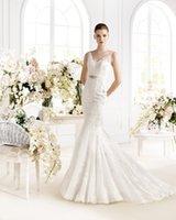avenue dresses - Sexy Sheer Straps V Neck Wedding Gowns Trumpet Style Applique Lace Beads Sash Court Train Mermaid Bridal Dresses Avenue Diagonal