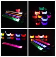 Wholesale Led light up Glow Flashing Illuminated Reflective Slap and Snap Safety Bracelet Bracelets Wristband DHL FEDEX