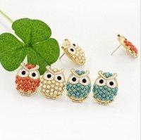 Wholesale Fashion Women Owl Stud Earring Bohemia Animal Beads Earrings for Women K Gold Plated